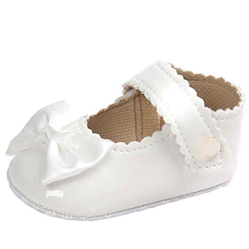 Turnschuhe Kleinkind Schuhe Babyschuhe Mädchen Tanzschuhe Ballerinas Leder T-Strap Schuhe Lauflernschuhe Mädchen Krabbelschuhe Streifen-beiläufige Wanderschuhe LMMVP (Weiß, 11 (0~6 Monate))