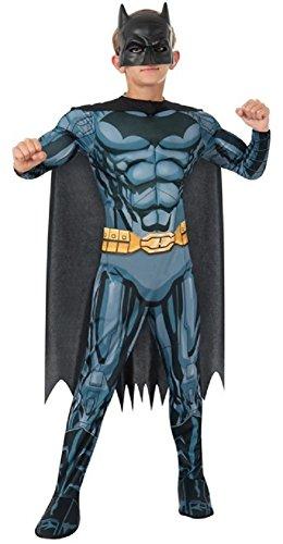 Jungen Offiziell Batman Deluxe Muskel Brust Superheld Halloween Büchertag Kostüm Verkleiden Outfit 3 - 10 jahre - Schwarz, 8-10 Years (Batman Muskel Kostüme)