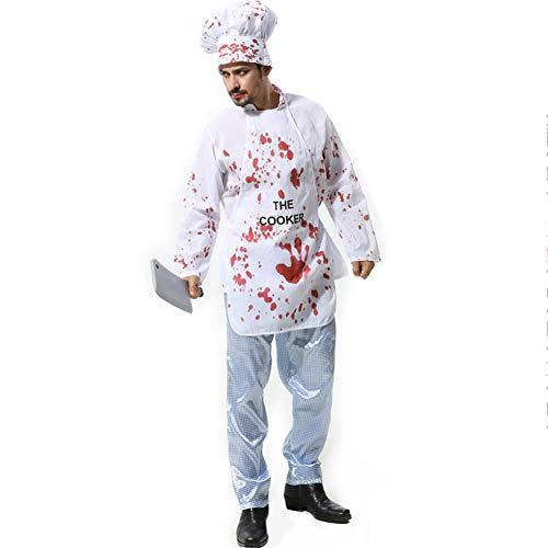 Kostüm Männlichen Chef - Mini Kostüm Halloween Kostüme, Cosplay Halloween Party Outfit für Adult Horror Bloody Chef, Hut + Kleid-2