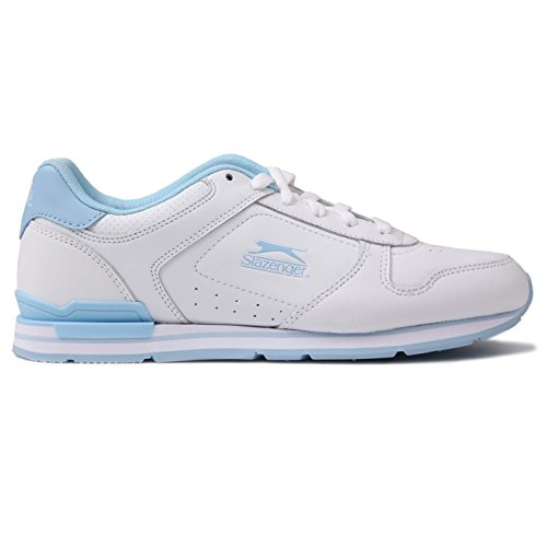 Pow Leder (Slazenger Damen Classic Turnschuhe Leder Sneakers Sport Schuhe Schnuerschuhe Weiß/Pow Blau 8 (42))