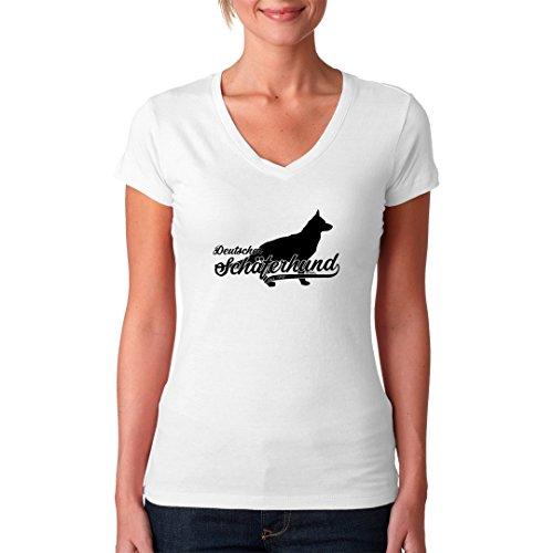 Im-Shirt - Rassehund: Deutscher Schäferhund (schwarz) cooles Fun Girlie Shirt - verschiedene Farben Weiß