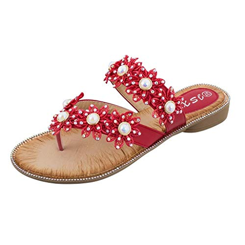 Apragaz Damenmode Sommer Einfache Schuhe Böhmen Blume Kristall Flache Sandalen Langlebig Bequeme Wild Strandschuhe (Color : Rot, Size : US 7.5=Size(CN):40) Red Womens Keil