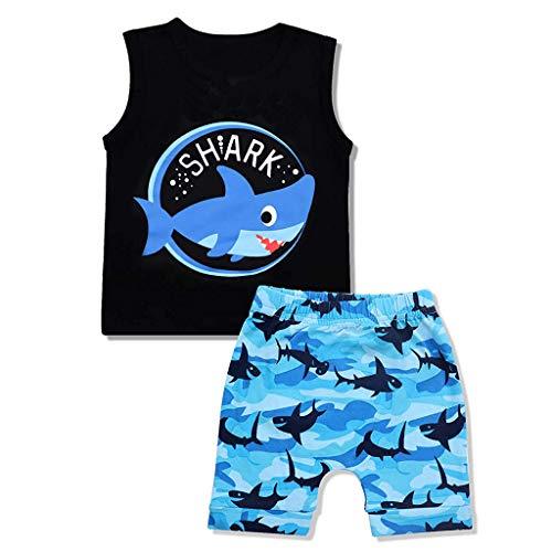 ant Kid Boy ärmellose Cartoon Shark Print Weste Oberseiten + Shorts Outfits Set Kleidung ()