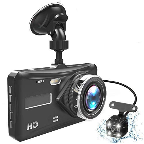"""Driving Recorder Dash Cam Doppelobjektiv Full HD 1080P 4\""""IPS Auto DVR Fahrzeugkamera Vorne + Hinten Nachtsicht Videorecorder G-Sensor Parkmodus WDR"""