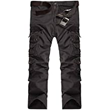 StyleDome Pantalones Anchos Largos Sueltos Casuales Bolsillos Oficina Deporte Algodón para Hombre