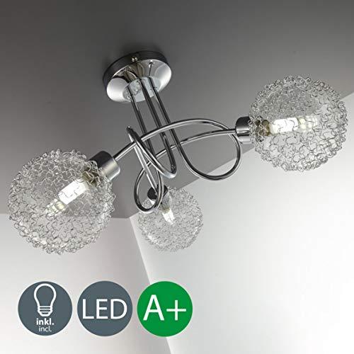 Lámpara de techo con 3 x 3,5 W bolas de cristal, luz de techo moderna de metal incl 2 bombillas LED G9 230V, IP20 blanco calido 3000K