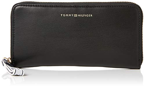 Tommy Hilfiger Damen Iconic Tommy Za Wlt Geldbörse, Schwarz (Black), 2x10x18 cm