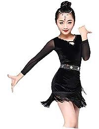2a3d0b190f451 Trajes de Vestir de Baile de Tango Niños Niñas Vestido de Baile Latino  Manga Larga Fringe Borlas Rumba Samba Salón de Baile Ropa…