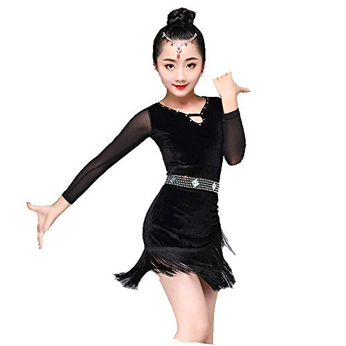 Yzibei Mädchen Schönheitswettbewerb Kinder Mädchen Latin Dance Dress Langarm Fransen Quasten Rumba Samba Ballsaal Dancewear Professionelle Bühnen Performance Wettbewerb Tanzkostüm Stickerei Ballkleid