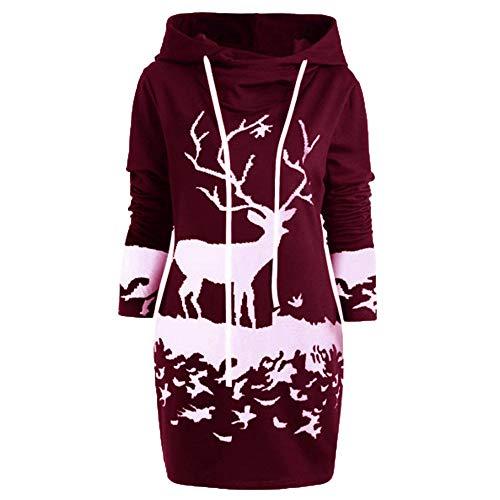 VEMOW Weihnachten Mini Pullover Kleid Damen Frauen Casual Daily Party Freizeit Kordelzug Monochrom...