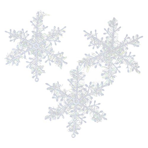 30pcs 11cm Flocons de Neige Décorations de Noël Ornements Suspendus - Blanc