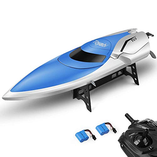 E T RC Boot Ferngesteuertes Boot 2,4GHz 20MPH High Speed Boot mit Kapsel Standard Funktion Fernbedienung Spielzeug für Kinder mit Extra Batterie (Blau Weiss)*