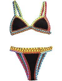 408058248bd243 Bikini's Crochet - Push up Triangle Neopren Badeanzug - Sexy Bikini für Frau  und Mädchen - Gratis…