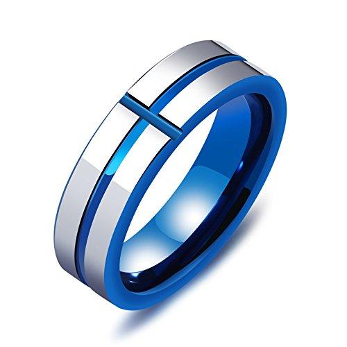 AieniD Anillo Compromiso Tungsteno 6MM Plata Azul