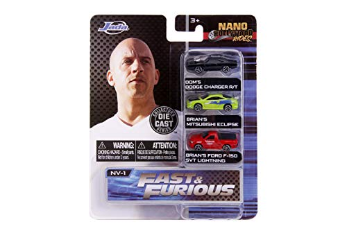 Jada - 31123 - Fast and Furious Rapido y Furioso 3 Mini Modelos Coche Charger Eclipse y Pick Up F-150 Nano Hollywood Rides Die Cast - Multicolor - 4cm