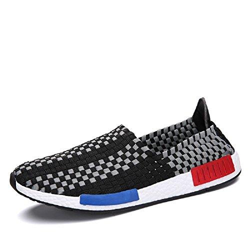 Peggie House Sport Chaussures De Couple Modèles Tissé Chaussures Casual Hommes Et Femmes Chaussures tissées Taille: 35-44 noir & blanc