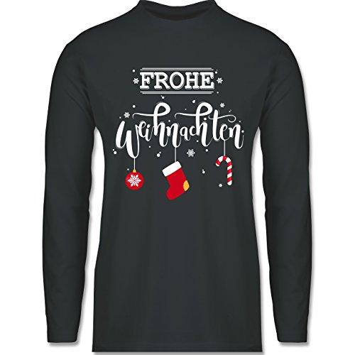 Weihnachten & Silvester - Frohe Weihnachten Lettering - Longsleeve / langärmeliges T-Shirt für Herren Anthrazit