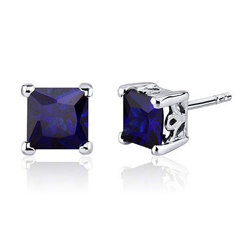 Revoni 3.00 Carats Alexandrite Princess Cut Scroll Design Stud Earrings in Sterling Silver