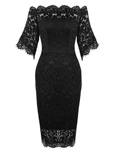ANGGREK Damen Elegantes Spitzen Kleid Etuikleid Partykleid Kurzarm Cocktailkleider Hochzeit Ballkleid