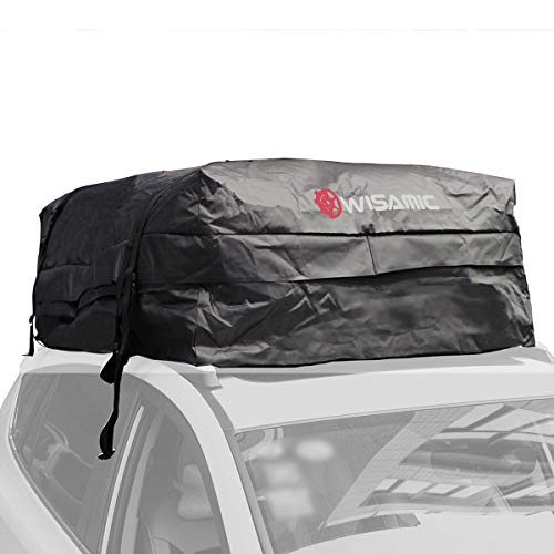 WISAMIC Auto Dachbox 30 Kubikfuß Faltbare Dachkoffer Aufbewahrungsbox Wasserdicht Dachtasche Dachgepäckträger Tasche Aufbewahrungsbox für Reisen und Gepäcktransport Schwarz