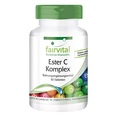Ester C 500mg - Vitamin C Komplex mit Bioflavonoiden - HOCHDOSIERT & VEGAN - gepuffertes Vitamin C - 90 Tabletten - magenfreundlich