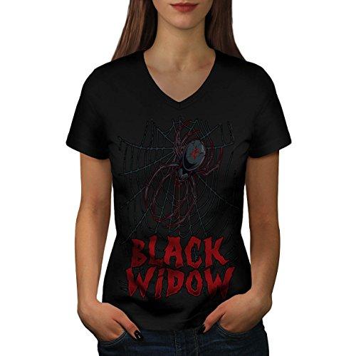 Angst Das Netz Damen M V-Ausschnitt T-shirt | Wellcoda (Schwarze Witwe-puppe)