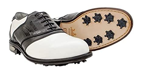 Premium Classic PORTMANN® golf shoes | Durable full grain waterproof leather | TPU&LEATHER (UK 10.5\ EU 45, WHITE\BLACK\CRO\PYT.)