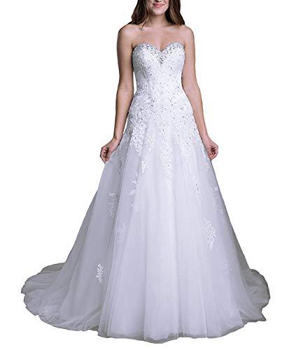 Aurora dresses Damen Trägerlos Hochzeitskleider Elegant Lange Spitze Perlstickerei Brautkleider...