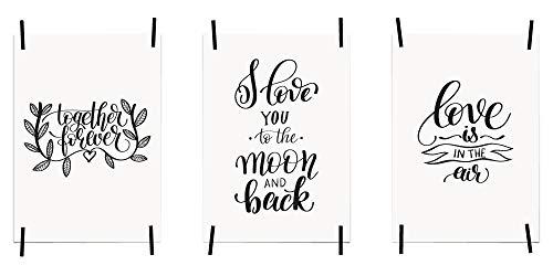myprinti® 3er Set Bilder Sprüche Poster Kunstdruck Liebe Love | Schlafzimmer Bett Wohnzimmer | Wanddeko Deko | Größe DIN A5 | Together Forever, Love You, Moon and Back, Love in The air - Groß-poster-bett