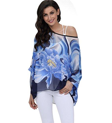 Oksakady camicetta donna estate -blusa in chiffon taglie forti maglia elegante e casual con stampa floreale (one size, boho-4296)