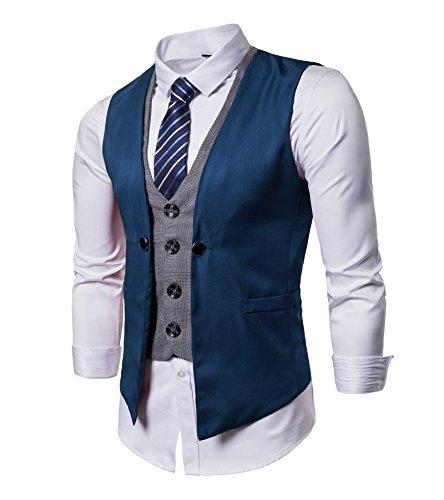 AYG Herren Gilet Weste Hochzeit Veste Freizeit Waistcoat Wedding Vest M-3XL, Blau, L(42\'Brust/37-42\'Taille)