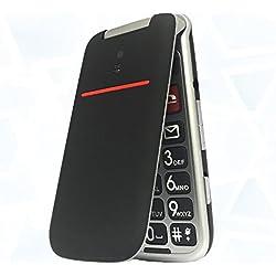 Teléfono Móvil con Tapa para Personas Mayores, Teclas Grandes, Artfone Flip gsm, Fácil de Usar Celular para Ancianos con SOS Botone,Pantalla DE 2,4 Pulgadas, Cámara, Negro