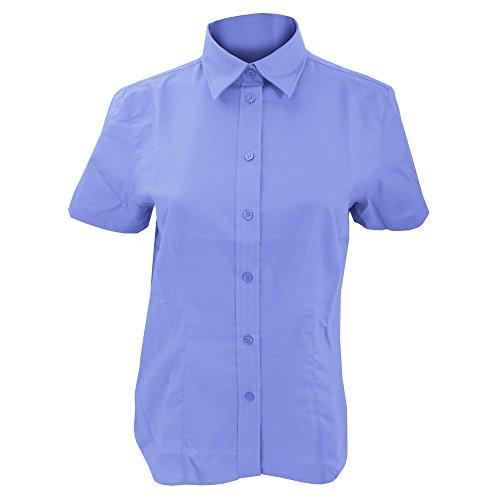Kustom Kit Workwear Oxford Bluse, Kurzarm Italian Blue