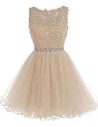MicBridal® robe de soirée courte, , Robe demoiselle honneur, robe mariage robe de cocktail avec strass en dentelle tulle
