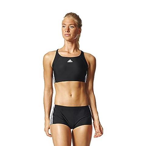 adidas Damen Essence Core 3-Streifen Bikini Set, Black/White, 42