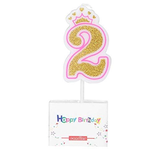 Neue Mädchen Kinder Geburtstag Kerze Party Crown Rauchfreie Kuchen Kerzen Zahlen Alter 0-8 Kuchen Topper Dekoration (2) (Neue Kerzen Geburtstag)