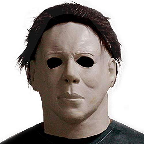(Michael Myers Horror Maske Vollkopf Luxus-Latex-Gummi Mit Haar Halloween-Kostüm-Maske Halloween Latex Horror Maske Vollkopf Deluxe Haar)