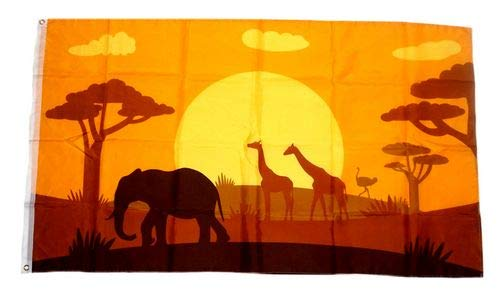 Fahne/Flagge Afrika Tiere Silhouette 90 x 150 cm