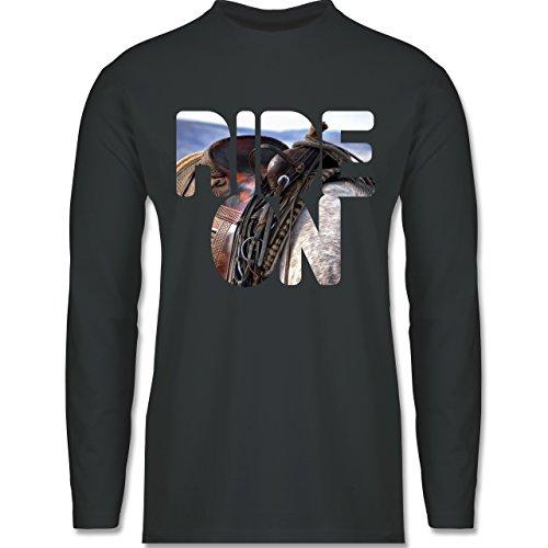 Shirtracer Statement Shirts - Ride On Pferd Reiten - Herren Langarmshirt Dunkelgrau