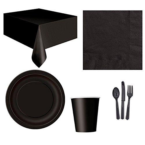 Pengyu Einweg Party Hochzeit Event Geschirr Tischdecke Serviette Teller Tasse Besteck Set, Schwarz, Einheitsgröße (Und Hochzeit Besteck Teller)