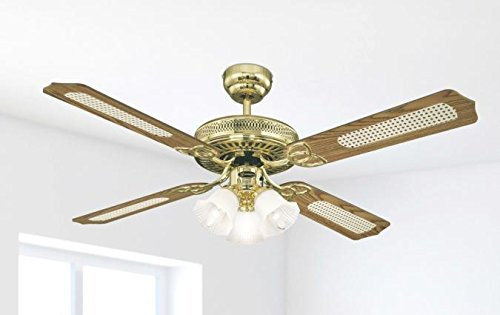 41vG2G CJrL - Westinghouse Ceiling Fans 78171 Monarch Trio 132 cm Polished Brass Ceiling Fan, Light Kit with Frosted Glass