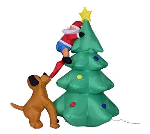 Illuminazione gonfiabile dell'albero di natale con il babbo natale del ventilatore che si arrampica sull'albero di christmas inseguito dalla decorazione del cane per il portico festivo all'aperto decor regali di natale 6 piedi