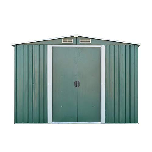 QingTanger 10FT x 8FT Metal Outdoor Garden Storage Shed Garden Storage Shed with Base