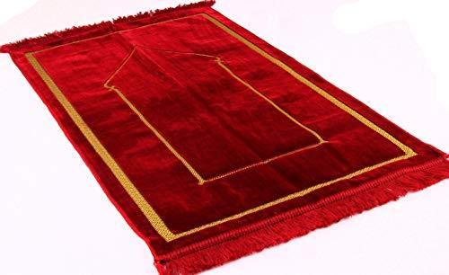 Premium islamischer Gebetsteppich Janamaz Sajjadah/Namaz Seccade by GOLD CASE - Made in Turkey rot - Islam-teppich