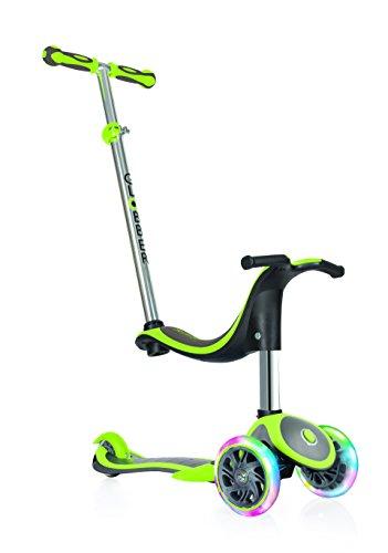 Globber niños de EVO Plus 4-en-1con Light Up Ruedas Scooter, Infantil, EVO 4-in-1 Plus with Light Up Wheels, Lime Green, n/a