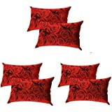 "BLUEDOT Present Designer Printed 6 Piece Cotton Pillow Cover Set - 17"" x 27"", Red"