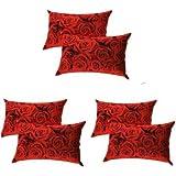 "BLUEDOT Present Designer Printed 6 Piece Cotton Pillow Cover Set - 17"" x 27"", Red"