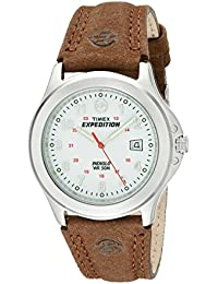 Timex Expedition Men's T44381 Quartz Watch with White Dial Analogue Display and Brown Leather Strap