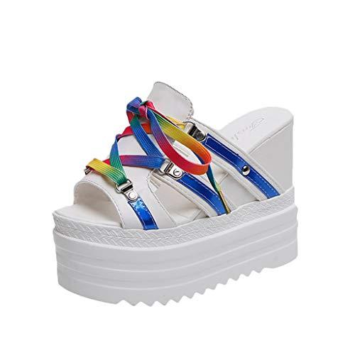 Mitlfuny Damen Sommer Sandalen Bohemian Flach Sandaletten Sommer Strand Schuhe,Sommer Frauen Hausschuhe Mode dickbesohlten Keil Sandalen Lace-Uo Outdoor-Schuhe