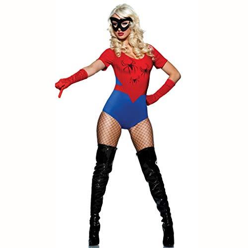 WOLJW Spiderman Kostüm Sexy Superfrau Cosplay Krieger Einteiliges Kostüm Halloween Kostüm Spiel Uniform